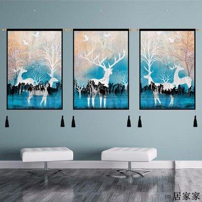 掛布 背景裝飾 掛毯 掛畫布藝 發財鹿客廳裝飾畫沙發背景墻三聯掛畫現代簡約大氣麋鹿壁畫墻掛畫