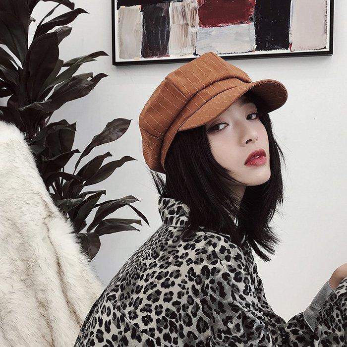 衣萊時尚-熱賣款 美歐慧春夏風衣料條紋八角帽子女英倫百搭日系韓版網紅貝雷帽ins