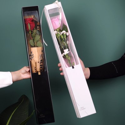 新款致愛麗絲單支玫瑰花束盒// 加厚PVC花盒鲜花包装禮盒//花店材料批發