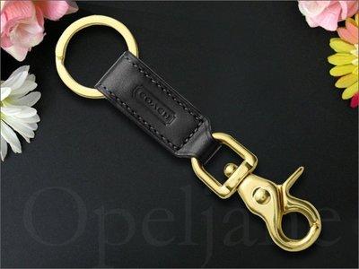 真品保證 Coach官網 KEY RING 黑色真皮 鑰匙圈 鑰匙掛環 鑰吊環特價情人節送禮物優選  愛Coach包包