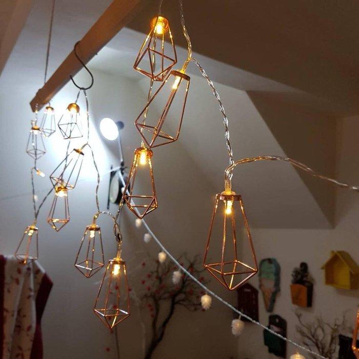 LED{{玫瑰金鑽石}}球燈串  庭院婚禮節慶裝飾燈(3米)