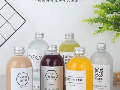 350ml  熱銷玻璃飲料瓶//磨砂霧面瓶//浮油花///胖胖瓶