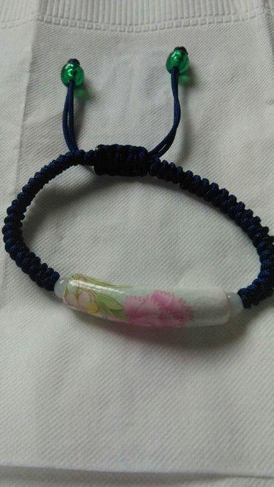 牡丹花瓷管珠手鍊