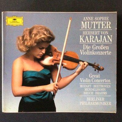 小提琴協奏曲集-Mutter慕特/小提琴 Karajan卡拉揚/指揮 西德PMDC版 4CD
