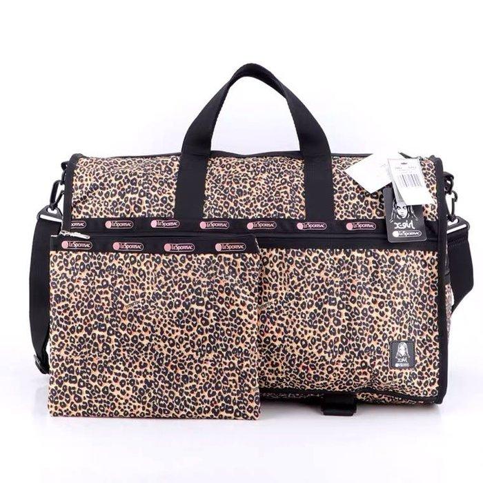 Lesportsac 3502 7185 小豹紋 手提肩背斜背大款旅行包 附同款收納包 限量