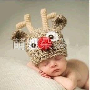 ~萌妞朵朵~新生兒寶寶可愛麋鹿攝影服裝 滿月百天服裝拍照服 毛線帽子 攝影針織服