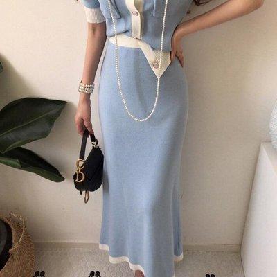 窄裙 法式小香風甜美併色針織長裙 艾爾莎【TGK8461】