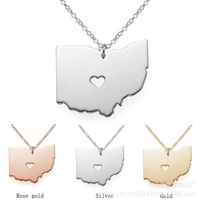 【現貨】俄亥俄州 地圖項鍊 鍍K金 玫瑰金 不銹鋼吊墜 真金項鍊 項鍊