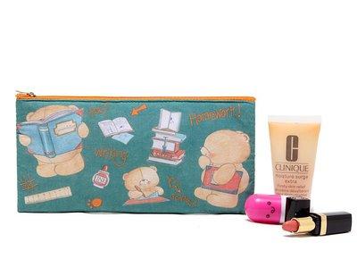 【德愛走跳】BOOTS專櫃  熊可愛加厚長型化妝包筆袋收納包雜物包整理包