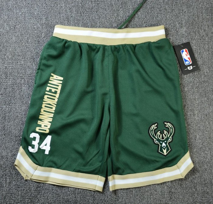 NBA籃球青年短褲 密爾瓦基公鹿隊  antetokounmp 口袋版 運動籃球褲 綠色 正版