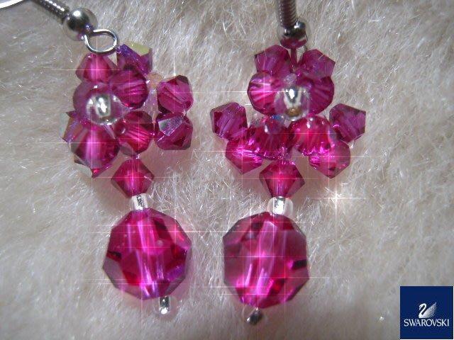 ※水晶玫瑰※ SWAROVSKI 地球珠水晶 耳勾式耳環(DD435)