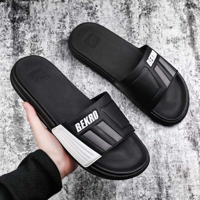 6Du spot~香港2020夏新款拖鞋男休閑一字拖防滑時尚外穿透氣沙灘涼拖男潮鞋