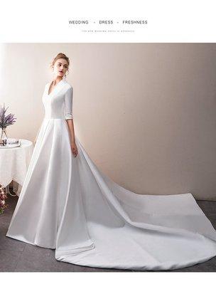 *全新~台中sasa婚紗禮服~輕婚紗緞面拖尾設計婚紗 白紗~