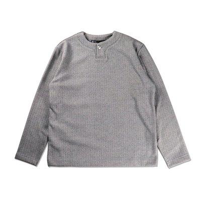 Freaky House-日本Audience人字呢單扣亨利領柔軟保暖鋪絨長T衛衣灰色