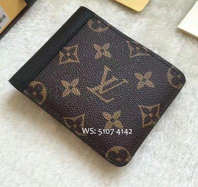LV 男士短款對折卡位老花拼黑皮錢包 時尚長款拉鏈西裝夾銀包 M93801 M93800 Wallet