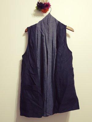 A11韓國衣衣~Avatar~領巾雙袋背心~深藍..領巾不能拆