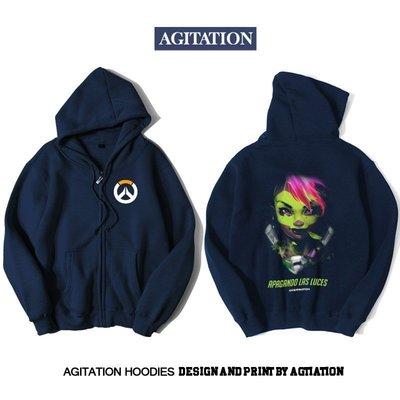 【思琪新品】Agitation潮流印花開衫拉鏈加絨衛衣游戲電競守望先鋒黑影