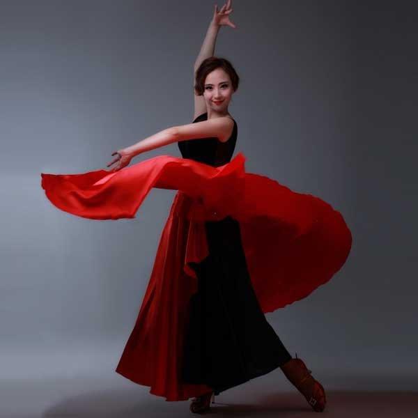 5Cgo【鴿樓】會員有優惠 39369534627 拉丁舞服裝 鬥牛舞鬥篷舞蹈裙表演比賽服 成人女練功服 半身裙