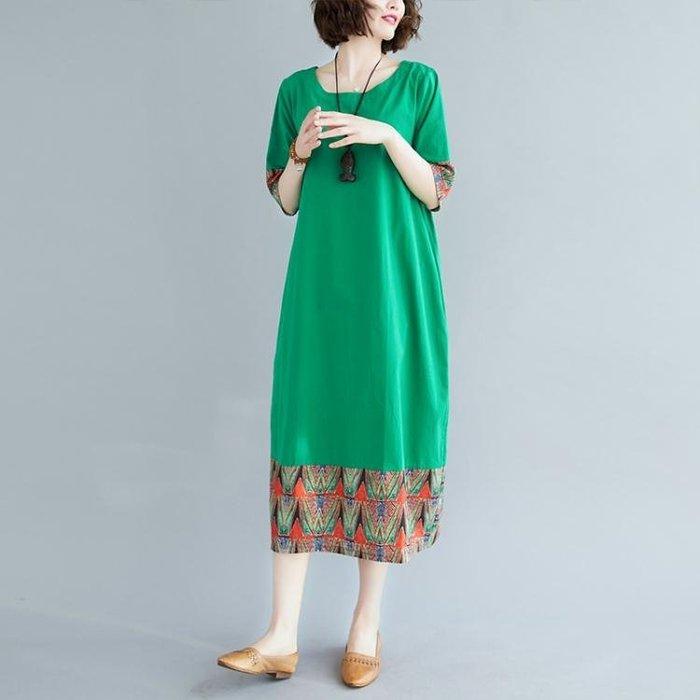 棉麻洋裝 2020夏裝民族風復古撞色拼接印花棉麻短袖連身裙寬鬆減齡中長裙女 站CXZJ