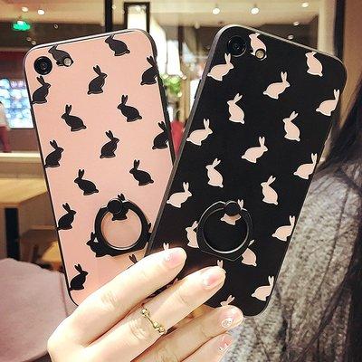 iphone xs max 手機殼 7 8玻璃簡約兔兔情侶🎉X保護殼蘋果7plus支架軟膠全包6s指環殼保護套