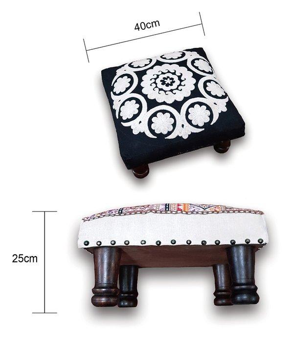 [綺異館] 印度椅子 手工精製 實木腳椅 小矮凳 穿鞋椅 休憩 札實 耐用不易變型 6A001-方款