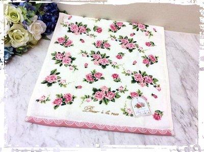 *阿布捲捲鄉村雜貨*日本 經典浪漫玫瑰純棉毛巾 長巾