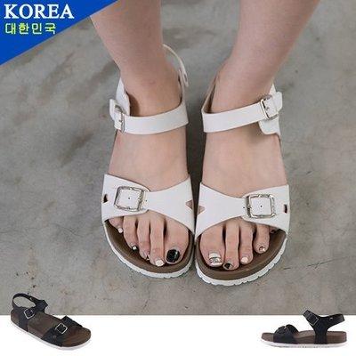 女款 街頭線條俐落簡約金屬雙釦 休閒涼鞋 厚底涼鞋 Ovan