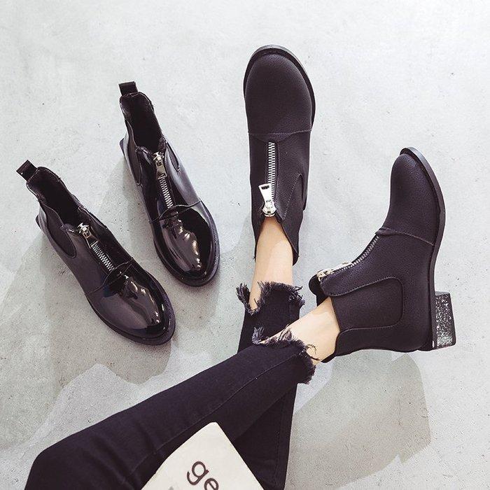 999短靴 靴子 馬丁靴 牛津靴  馬丁靴女秋季新款韓版ulzzang百搭英倫風尖頭切爾西靴短靴女