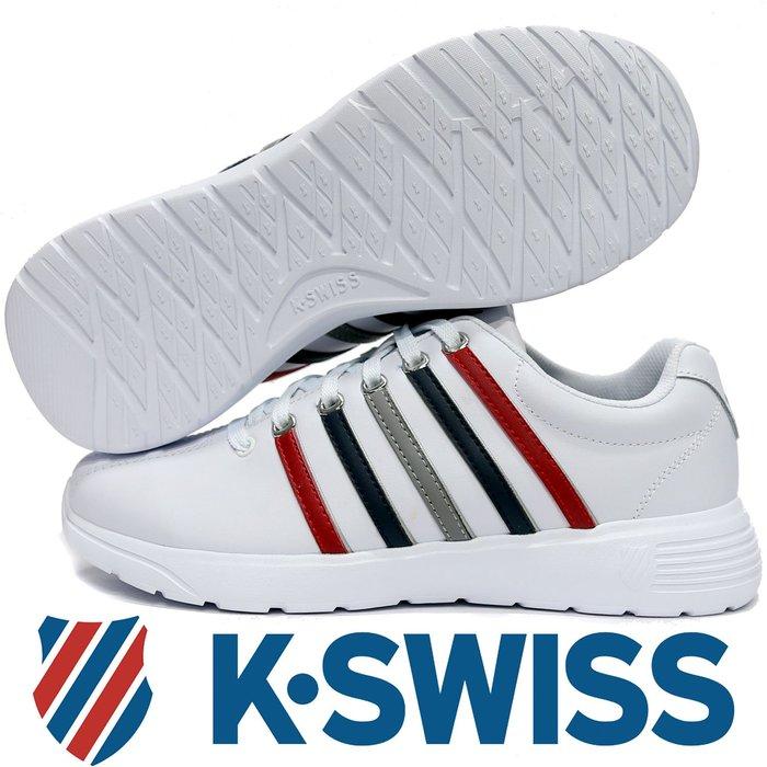 鞋大王K-SWISS 06165-136 白×紅×藍 3D鞋底皮質休閒運動鞋,記憶鞋墊【免運費,加贈鞋油和襪子】814K