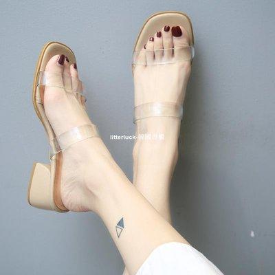 litterluck-韓國專櫃透明拖鞋女夏外穿時尚2019新款正韓一字涼拖女夏高跟中跟粗跟涼鞋