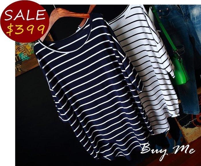 Buy Me 韓版寬鬆蝙蝠袖中長版條紋七分袖T恤  (兩色) 深藍2現貨