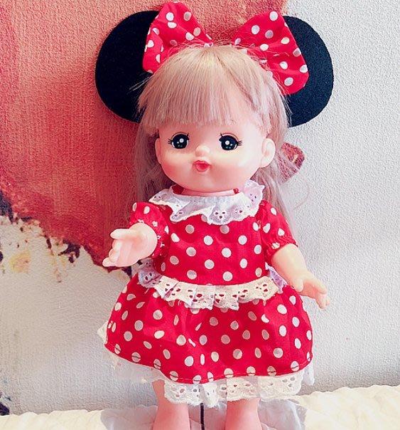 【小黑妞】小美樂可穿衣服服飾---小美樂可穿-紅色大耳朵圓點洋裝兩件套套裝(不含娃娃及身上衣服)
