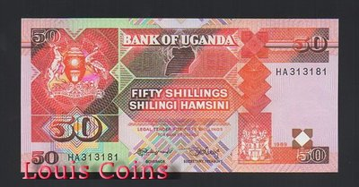 【Louis Coins】B516-UGANDA--1989烏干達紙幣50 Shillings