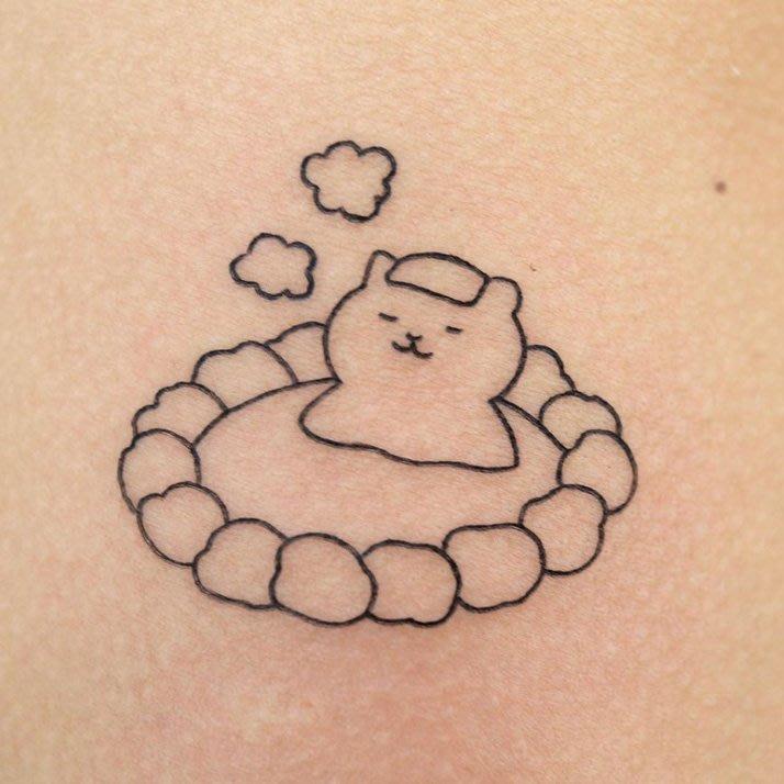 【萌古屋】】溫泉貓咪 - 防水紋身貼紙刺青貼紙 HC-3020