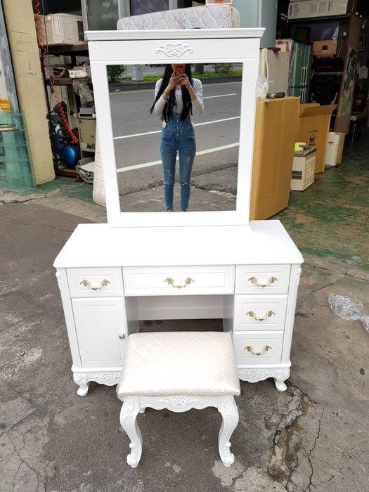 非凡二手家具 全新精品 溫妮莎歐風3.5尺 收納鏡純白化妝台*梳妝台*化妝檯*鏡台*化妝桌*書桌*造型桌*立鏡*公主風
