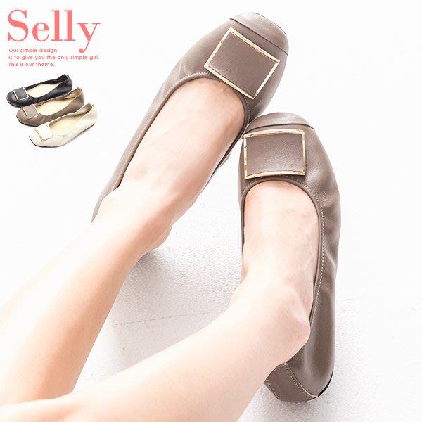 Selly outlet MIT系列-方頭飾釦牛皮娃娃鞋(MIT151) 可可灰36號 NG268