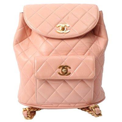vintage CHANEL DUMA 粉色皮革後背包雙肩包 日本二手代購