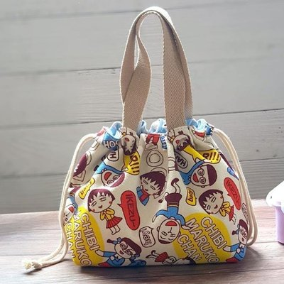哆啦本鋪 櫻桃小丸子飯盒袋卡通可愛學生日式便當包圓形午餐包束口小帆布包 D655