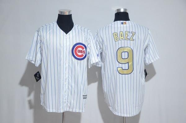 漫無止境wkky MLB棒球服Cubs小熊隊球衣9號BAEZ灰白色金字總冠軍標短袖開衫T恤