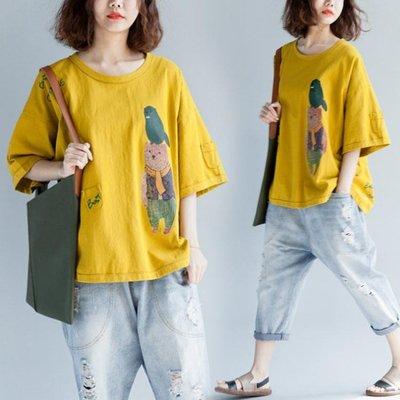 大尺碼tx 純棉印花T恤 夏季寬鬆胖mm短袖上衣女