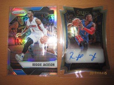 網拍讀賣~Reggie Jackson~活塞隊球星~SELECT切割限量簽名卡/99~貼紙簽~PRIZM平行亮卡~普特卡