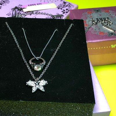 Anna Sui全新限量正品白色水鑽蝴蝶戒指墜飾二段式可調式925純銀項鍊組雙項鍊雙鍊組安娜蘇