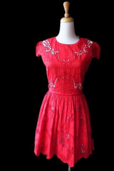 *Beauty*alice +olivia紅色蕾絲短袖洋裝2號13800   元WE17