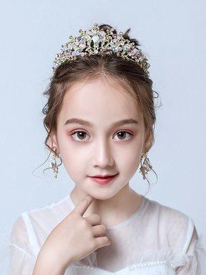 新品 熱銷 女童皇冠頭飾水晶兒童王冠公主生日韓式走秀演出小女孩發飾品發箍#演出#走秀