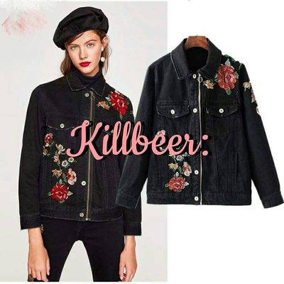 KillBeer:經典就是不會被換之 歐美復古經典60s重工花朵刺繡水洗做舊破洞拉鍊丹寧牛仔外套zara topshop