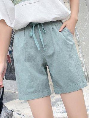 棉麻短褲棉麻褲女寬鬆亞麻短褲2020年夏季新款休閒直筒工裝褲高腰五分褲子 快速出貨,九折優惠