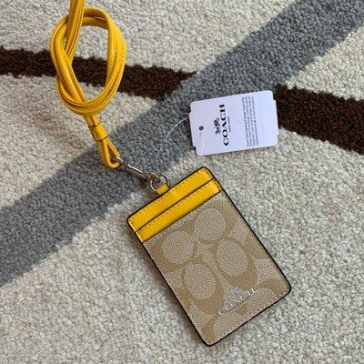 Melia 米莉亞代購 COACH 2020ss 識別證套 證件套 悠遊卡套 F26654 基本款 黃帶 基本圖案