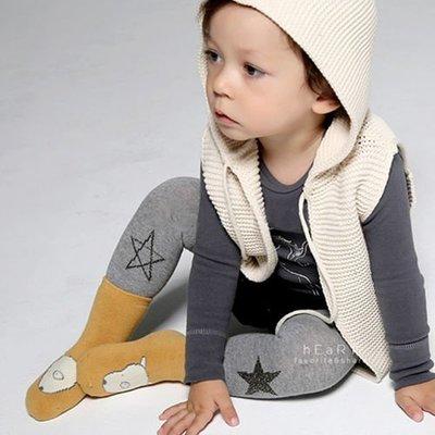【可愛村】 柔軟超彈力簡約棉質灰色星星塗鴉包腳褲襪 童襪 長襪 長褲 止滑襪 防滑襪 內搭褲
