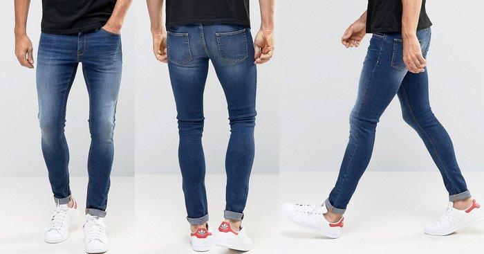 ◎美國代買◎ASOS 超顯廋好看藍刷白色可反摺褲管貼合身有彈性復古刷白藍色合身牛仔褲~歐美街風~大尺碼~