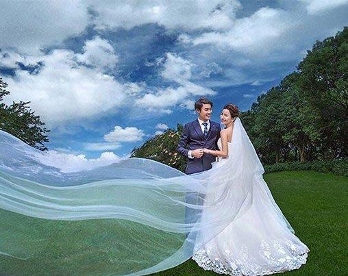 新娘頭紗凡妮莎 白色素紗裸紗2米 婚紗禮服